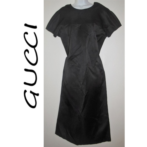 Sale Gucci Vintage 70s Black Silk Backless Dress